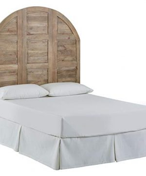 Amazon Brand Stone Beam Arced Rustic King Bed Headboard With Raised Panels Queen 64 Inch New Whitewash 0 300x360
