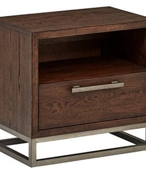 Amazon Brand Stone Beam Glenwood Industrial Metal Accent Nightstand End Table 23H Oak 0 300x360