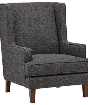 Amazon Brand Stone Beam Highland Modern Wingback Living Room Accent Chair 319W Caviar 0 300x360