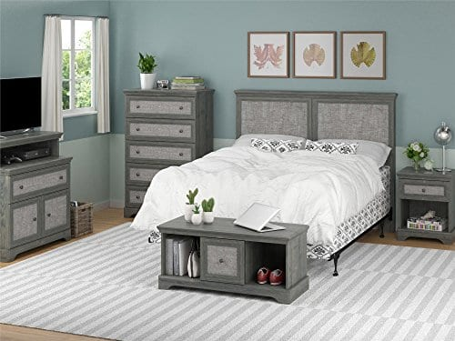 Ameriwood Home Stone River FullQueen Headboard With Fabric Inserts Weathered Oak 0 1