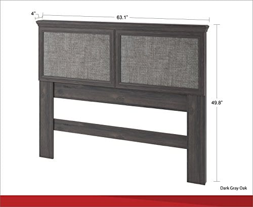 Ameriwood Home Stone River FullQueen Headboard With Fabric Inserts Weathered Oak 0 3