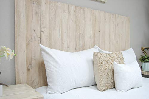 Antique White Headboard Full Size Weathered Hanger Style Handcrafted Mounts On Wall Easy Installation 0 0