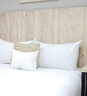 Antique White Headboard Full Size Weathered Hanger Style Handcrafted Mounts On Wall Easy Installation 0 300x332