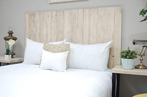 Antique White Headboard Full Size Weathered Hanger Style Handcrafted Mounts On Wall Easy Installation 0