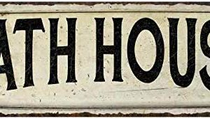Bath House Sign Farmhouse Decor Country Decorations Wood Look Signs Wall Art Tin Plaque 6 X 18 High Gloss Metal 206180028090 0 300x170
