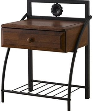 Baxton Studio Jevenci Vintage Antique Metal Walnut Wood 1 Drawer Nightstand Medium Dark Bronze 0 300x360