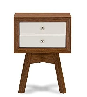 Baxton Studio Warwick Two Tone Modern Accent Table And Nightstand WalnutWhite 0 300x334