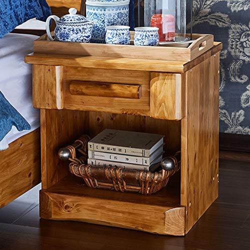 Bedside Table Dressing Table Solid Wood Drawer Storage Bedroom Side Cabinet Color Wood Color Size 454248cm 0 0