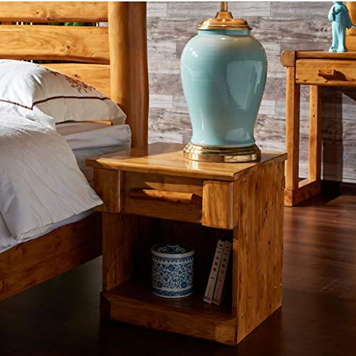 Bedside Table Dressing Table Solid Wood Drawer Storage Bedroom Side Cabinet Color Wood Color Size 454248cm 0 1