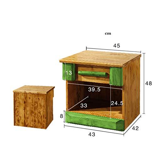 Bedside Table Dressing Table Solid Wood Drawer Storage Bedroom Side Cabinet Color Wood Color Size 454248cm 0 3