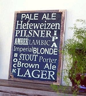 Beer Types Around The World Metal Sign Framed On Rustic Wood Casual Den Bar 0 0 300x333