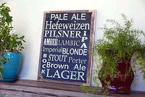 Beer Types Around The World Metal Sign Framed On Rustic Wood Casual Den Bar 0 0