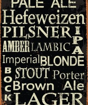 Beer Types Around The World Metal Sign Framed On Rustic Wood Casual Den Bar 0 1 300x360