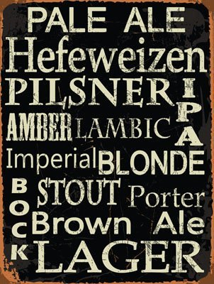 Beer Types Around The World Metal Sign Framed On Rustic Wood Casual Den Bar 0 1