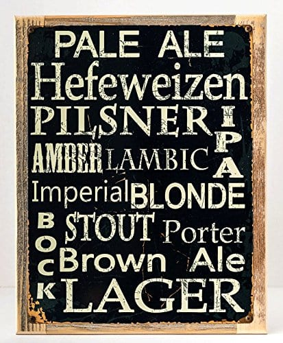 Beer Types Around The World Metal Sign Framed On Rustic Wood Casual Den Bar 0