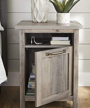 Better Homes Gardens Modern Farmhouse End Table Nightstand With USB Rustic Gray Finish 0 300x360