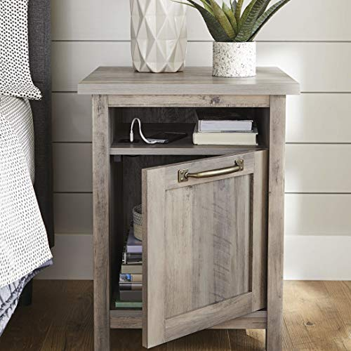 Better Homes Gardens Modern Farmhouse End Table Nightstand With USB Rustic Gray Finish 0