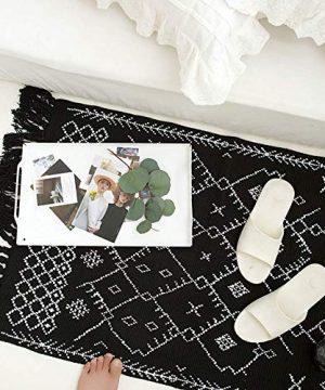 Boho Bathroom Rug Black White Bath Mat Woven Cotton Small Throw Rug 2x3 Tassel Rug For Kitchen Laundry Doorway Bedroom 0 1 300x360