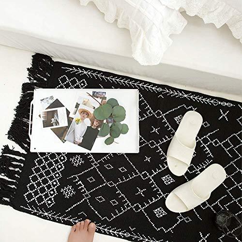Boho Bathroom Rug Black White Bath Mat Woven Cotton Small Throw Rug 2x3 Tassel Rug For Kitchen Laundry Doorway Bedroom 0 1