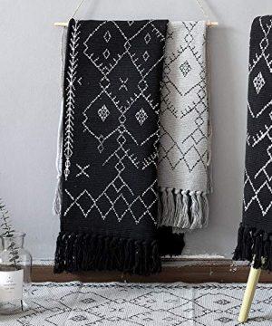 Boho Bathroom Rug Black White Bath Mat Woven Cotton Small Throw Rug 2x3 Tassel Rug For Kitchen Laundry Doorway Bedroom 0 3 300x360