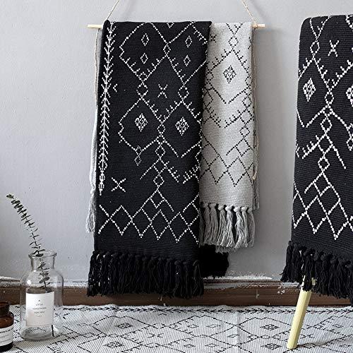 Boho Bathroom Rug Black White Bath Mat Woven Cotton Small Throw Rug 2x3 Tassel Rug For Kitchen Laundry Doorway Bedroom 0 3