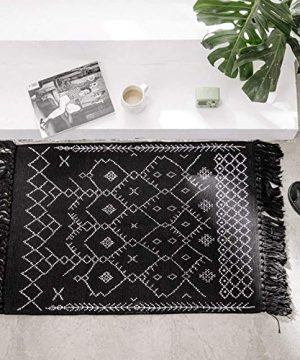 Boho Bathroom Rug Black White Bath Mat Woven Cotton Small Throw Rug 2x3 Tassel Rug For Kitchen Laundry Doorway Bedroom 0 300x360