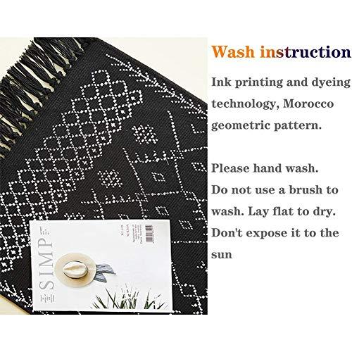 Boho Bathroom Rug Black White Bath Mat Woven Cotton Small Throw Rug 2x3 Tassel Rug For Kitchen Laundry Doorway Bedroom 0 4