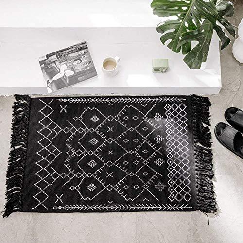 Boho Bathroom Rug Black White Bath Mat Woven Cotton Small Throw Rug 2x3 Tassel Rug For Kitchen Laundry Doorway Bedroom 0
