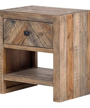 Brown Reclaimed Pine Storage Contemporary Nightstand Rustic Wood Lacquer Matte Stained Shelf Area 0 0 300x360