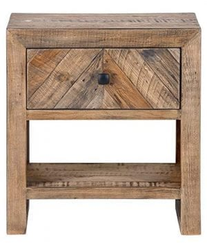 Brown Reclaimed Pine Storage Contemporary Nightstand Rustic Wood Lacquer Matte Stained Shelf Area 0 1 300x360