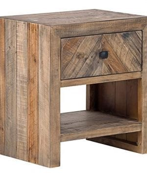 Brown Reclaimed Pine Storage Contemporary Nightstand Rustic Wood Lacquer Matte Stained Shelf Area 0 300x360