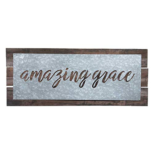 Brownlow Gifts Galvanized Metal Plate Sign On Wood Plank Base Wall Dcor 22 X 9 Inches Amazing Grace 0