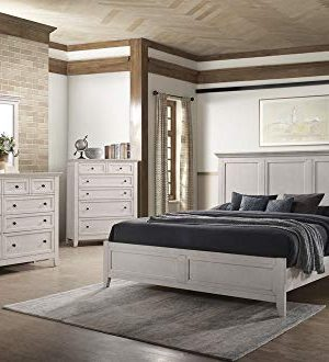 Carefree Home Furnishings Intercon San Mateo Queen Size 5 Piece Panel Bedroom Set Rustic White Finish 0 300x330