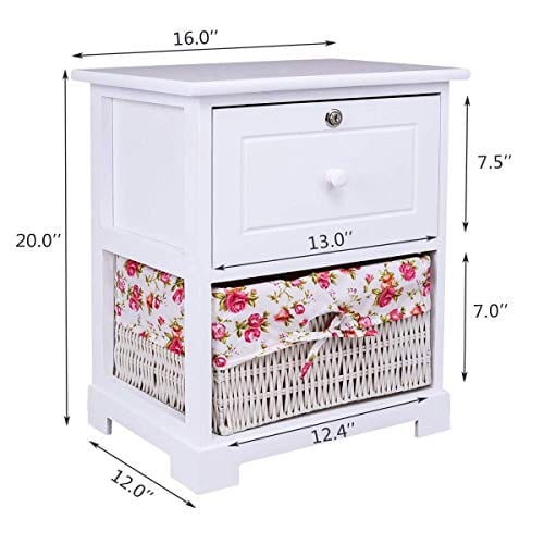 Casart 2 Tiers Nightstand End Table Wood Home Furniture Sofa Side Bedside Storage Organizer WBasket Lockable Drawer 1 Pc White 0 2
