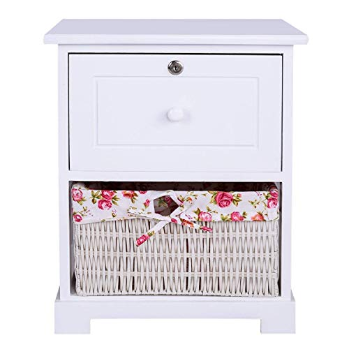 Casart 2 Tiers Nightstand End Table Wood Home Furniture Sofa Side Bedside Storage Organizer WBasket Lockable Drawer 1 Pc White 0 3