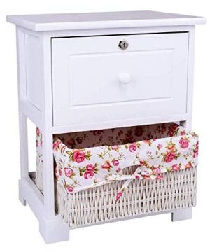 Casart 2 Tiers Nightstand End Table Wood Home Furniture Sofa Side Bedside Storage Organizer WBasket Lockable Drawer 1 Pc White 0 300x360