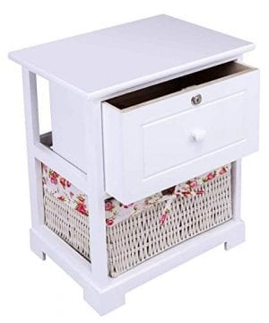 Casart 2 Tiers Nightstand End Table Wood Home Furniture Sofa Side Bedside Storage Organizer WBasket Lockable Drawer 1 Pc White 0 4 300x360