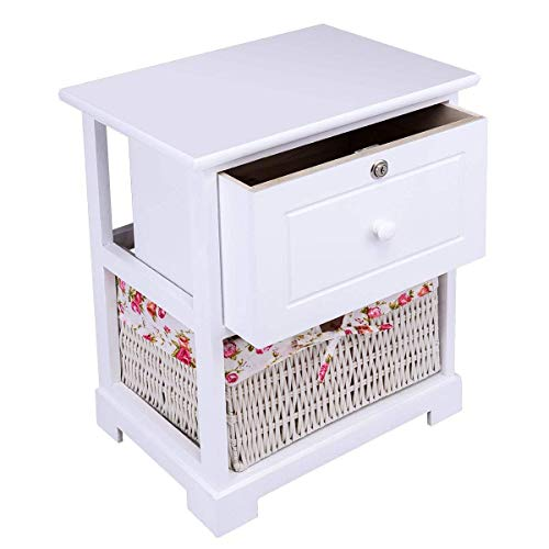 Casart 2 Tiers Nightstand End Table Wood Home Furniture Sofa Side Bedside Storage Organizer WBasket Lockable Drawer 1 Pc White 0 4