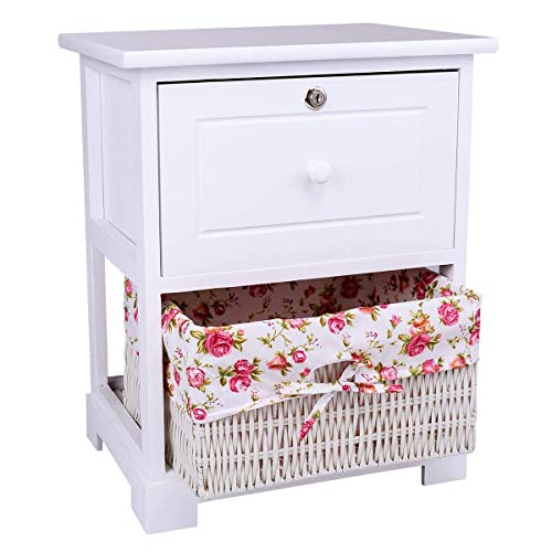 Casart 2 Tiers Nightstand End Table Wood Home Furniture Sofa Side Bedside Storage Organizer WBasket Lockable Drawer 1 Pc White 0