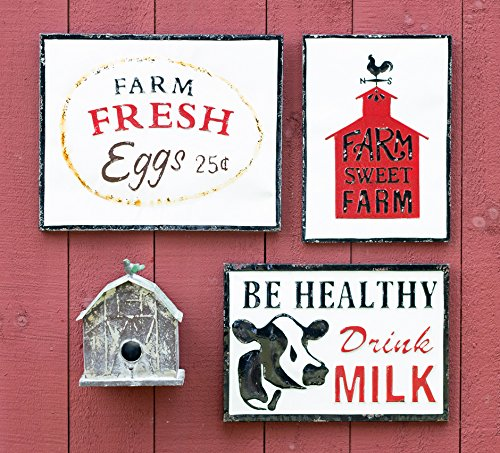 Celebrate The Home Farmhouse Style Decorative Metal Sign Be Healthy Drink Milk 0 0