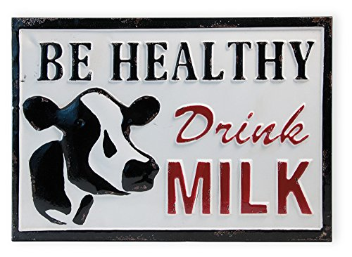 Celebrate The Home Farmhouse Style Decorative Metal Sign Be Healthy Drink Milk 0