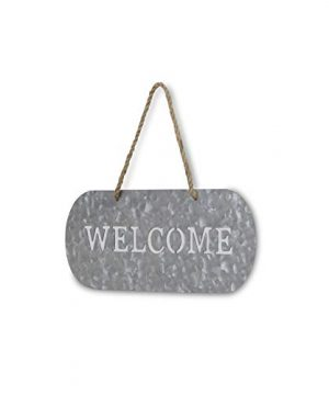 Cheungs FP 3332A Metal Garden Hanging Welcome Sign Silver Brown 0 0 300x360