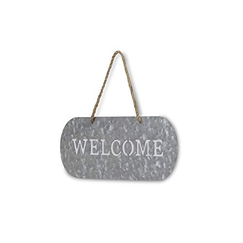 Cheungs FP 3332A Metal Garden Hanging Welcome Sign Silver Brown 0 0
