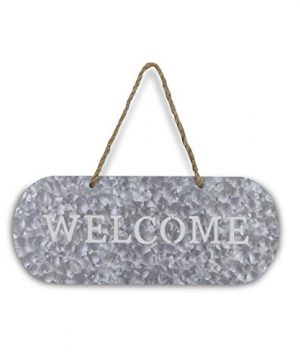 Cheungs FP 3332A Metal Garden Hanging Welcome Sign Silver Brown 0 1 300x360