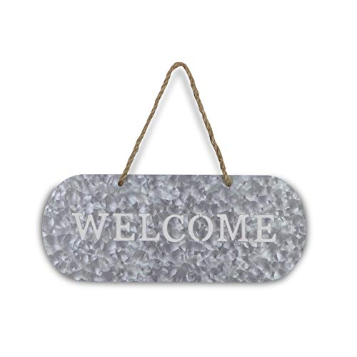 Cheungs FP 3332A Metal Garden Hanging Welcome Sign Silver Brown 0 1