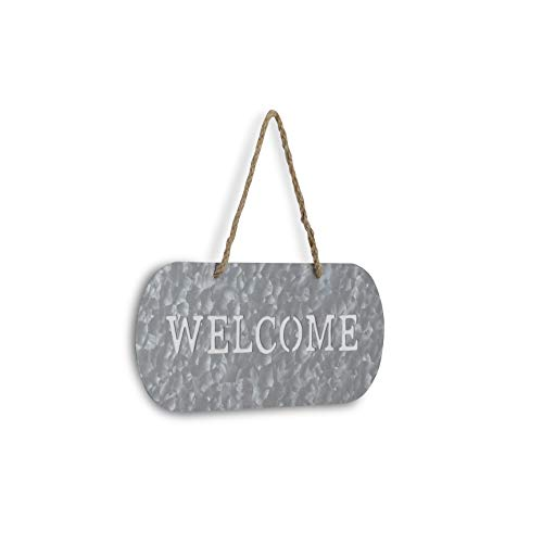 Cheungs FP 3332A Metal Garden Hanging Welcome Sign Silver Brown 0