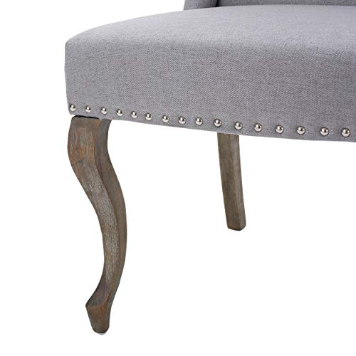 Christopher Knight Home Asheville Button Tufted Fabric Chair Light Grey 0 1
