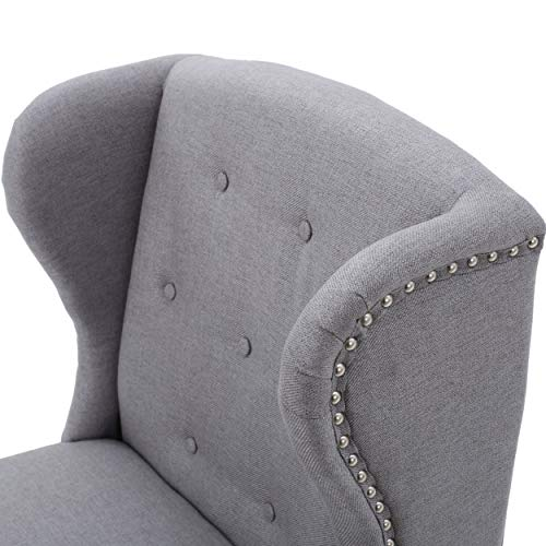 Christopher Knight Home Asheville Button Tufted Fabric Chair Light Grey 0 2