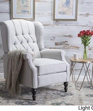 Christopher Knight Home Elizabeth Tufted Light Grey Fabric Recliner Arm Chair 0 300x360
