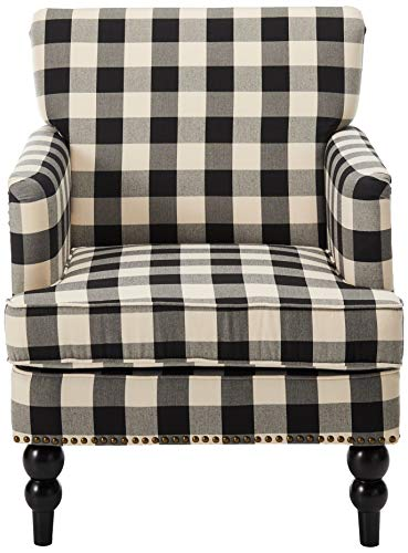 Christopher Knight Home Evete Tufted Fabric Club Chair Black Checkerboard 0 0